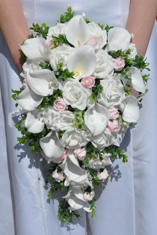 Beautiful White Rose and Calla Lily Cascade Bridal Bouquet ...