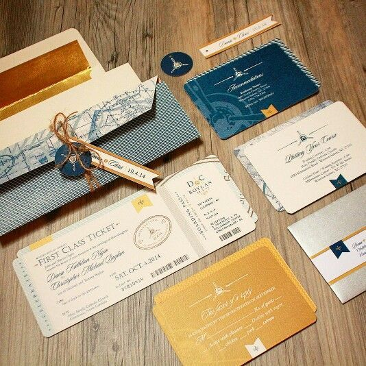 Pilot Plane Aviation Themed Wedding Invitation Custom Designed