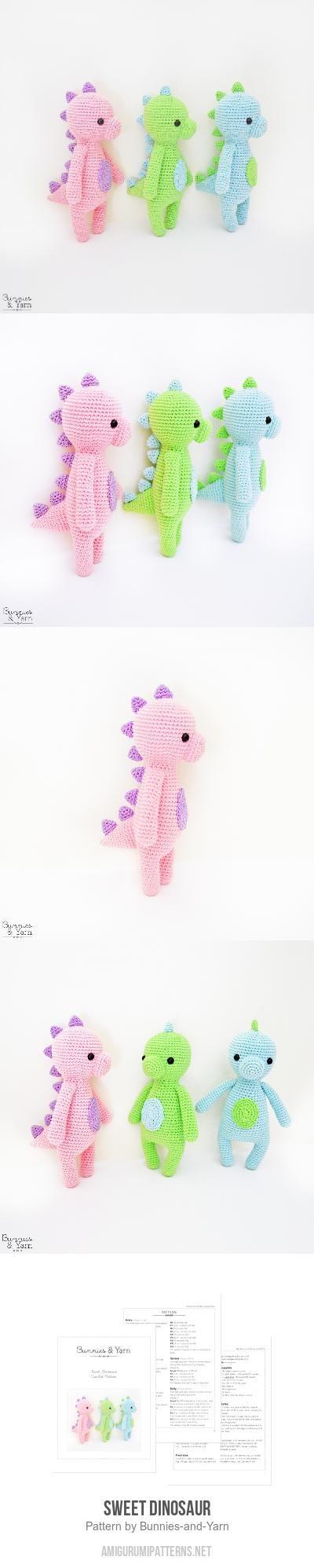 Sweet Dinosaur amigurumi pattern by Bunnies and Yarn | Tejido ...