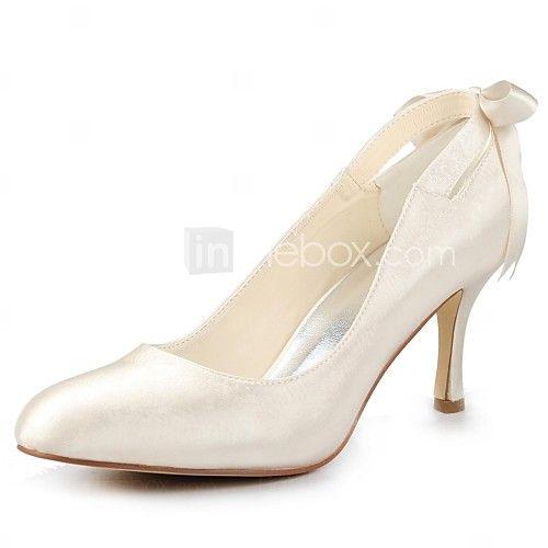 Women's Fall Satin Wedding Stiletto Heel Ribbon Tie Black Blue Yellow Pink  Purple Red Ivory White Silver Champagne