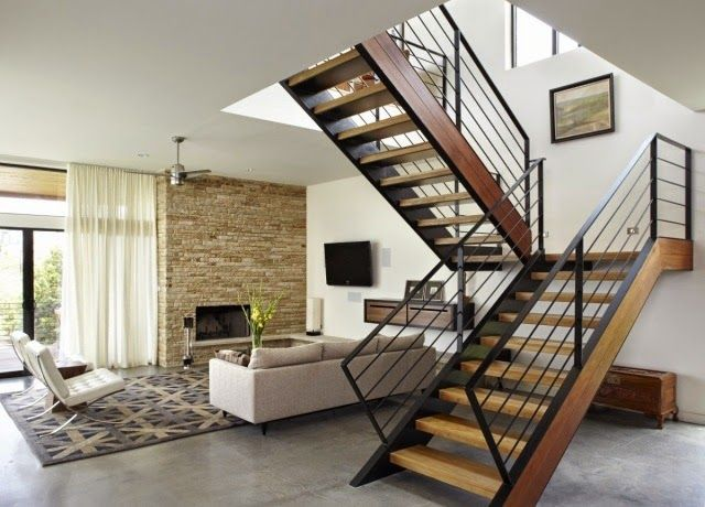 Attractive Modern Stair Railing Designs: Half Turn Staircase Design With Railing