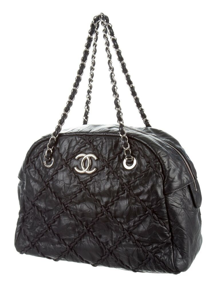 22e55ea59eea CHANEL Black Ultra Stitch Quilted Calfskin Hobo Handbag Bag w RECEIPT
