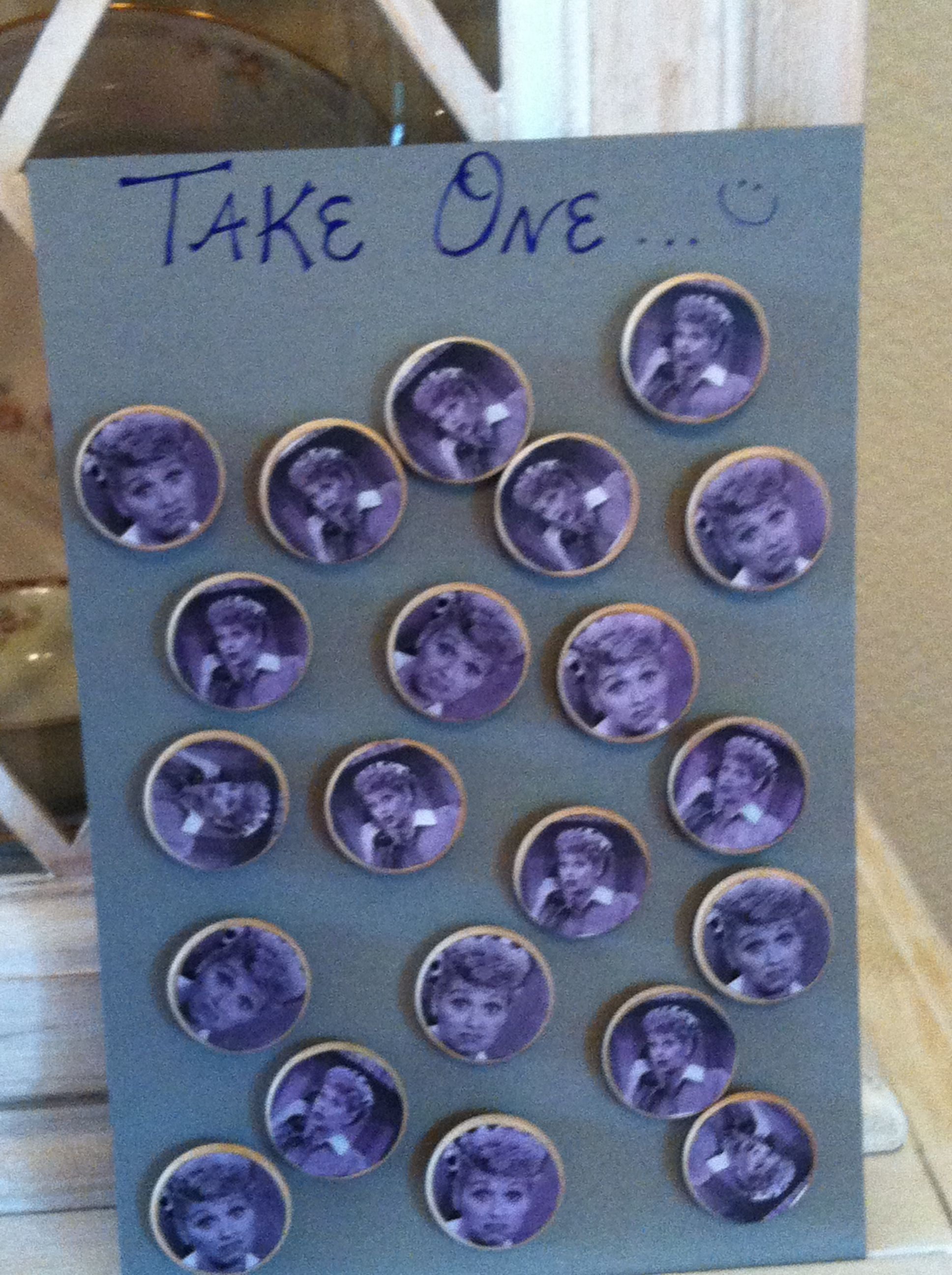 purple themed bridal shower%0A Made I love lucy magnets for party favors