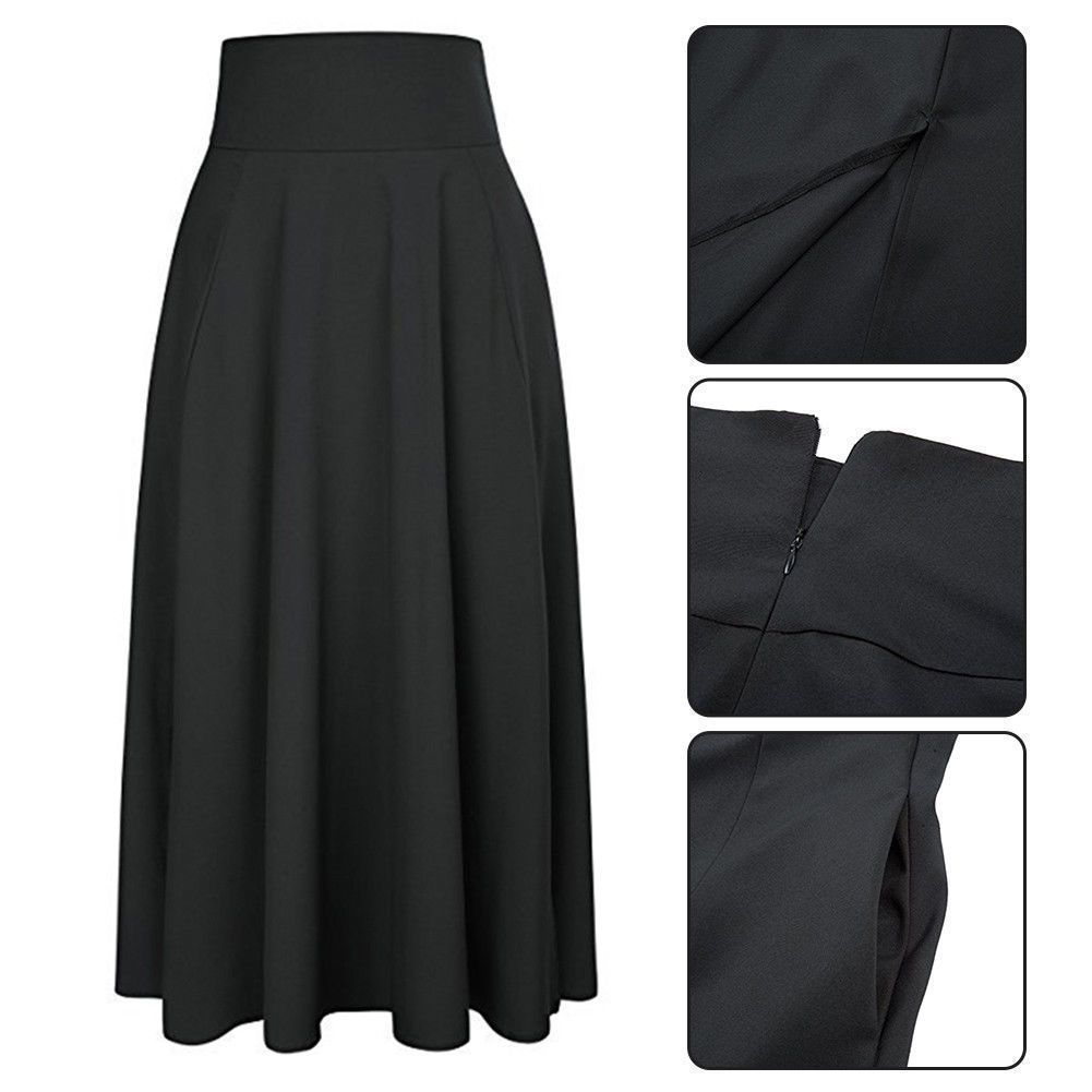 80229e00dc Vintage Women Stretch High Waist Plain Skater Flared Pleated Long Skirt  Dress