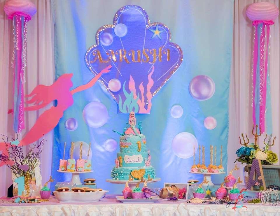 "Mermaid theme / Birthday ""Aarushi's mermaid 1st birthday"