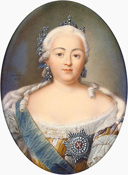 Miniature Watercolor Portrait by Jean Henri Benner of Empress Elizabeth Petrovna Romanova (29 Dec 1709-5 Jan 1762 age 52) Russia. 5th child of Tsar Peter I The Great Alekseyevich Romanov (9 Jun 1672-8 Feb 1725 age 52) Russia & 2nd wife Empress Catherine I Alexeyevna Romanova (Marta Elena Skavronska) (15 Apr 1684-17 May 1727 age 43) Poland. Located in 2015 in The State Hermitage Museum, St. Petersburg, Russia- ORM-161.