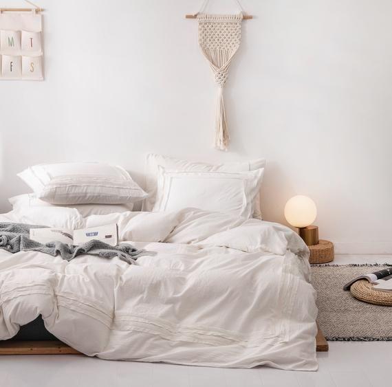 Photo of Fashion Duvet Cover Set 100% Cotton Soft Bedding Set Pure Color Simple Bed Set Cotton Duvet Cover Se
