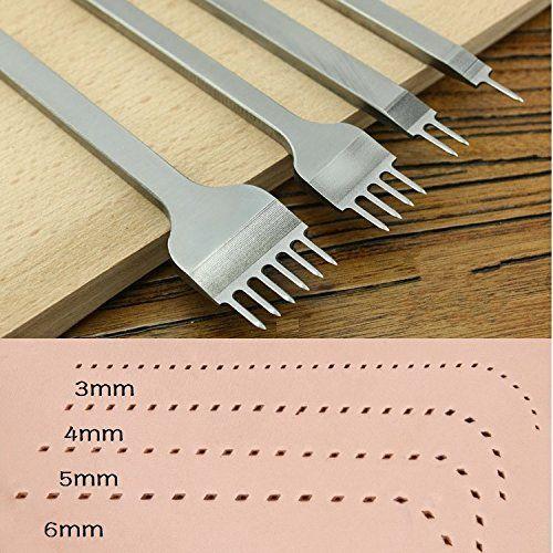 2+4+6 Prong Chisel Leather Craft Pricking Iron Stitching Chisel Hole Punch Kit