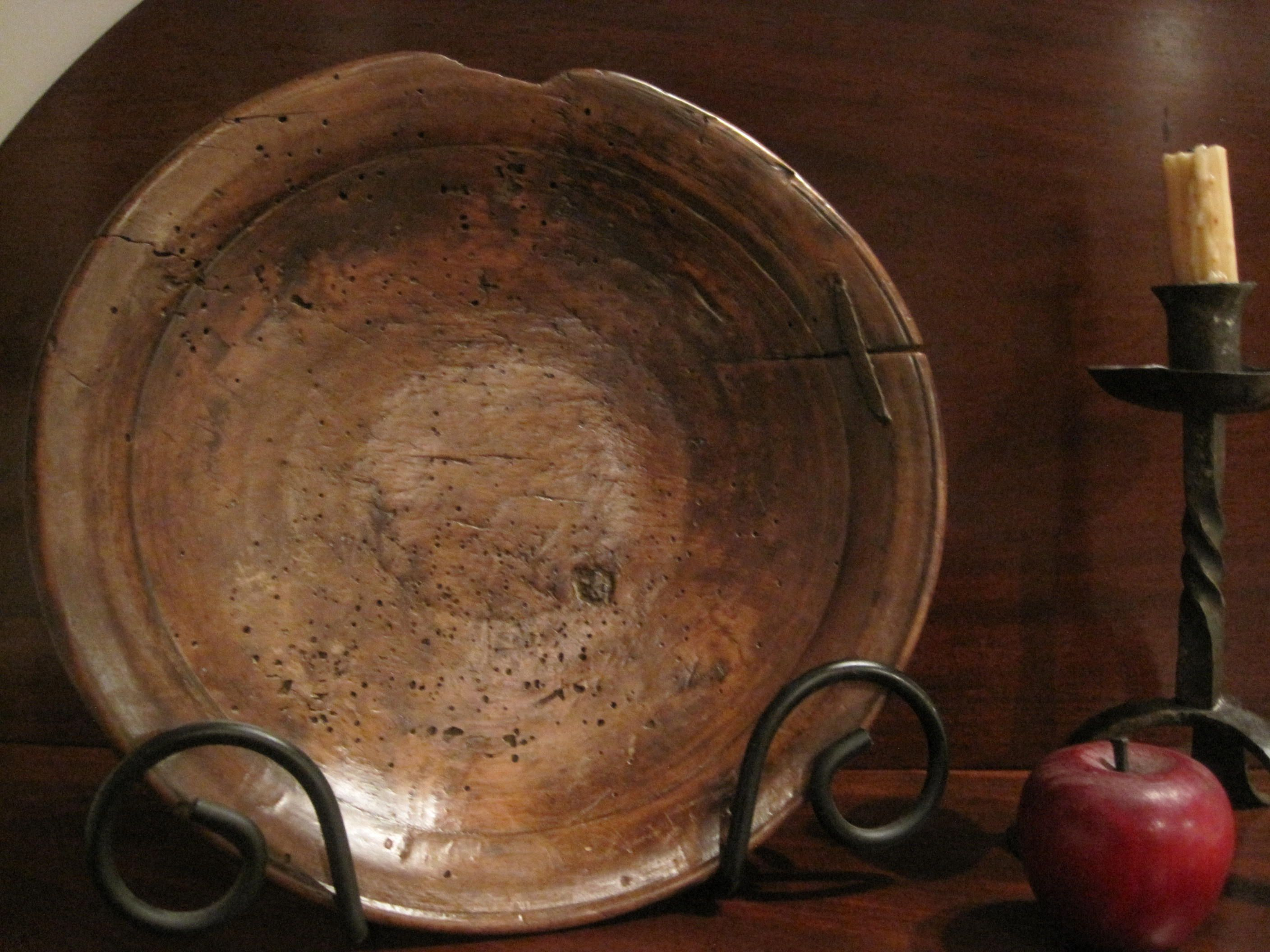 Antique 1700's Colonial Wooden Staple Patched Wooden Treen Bowl   North Bayshore Antiques