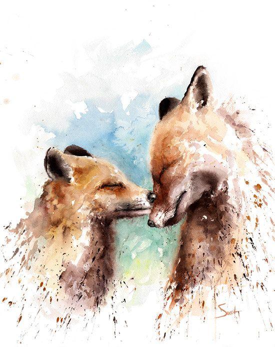 Fox Watercolor Painting Fox Artwork Red Fox Picture Original Watercolor Animal Love
