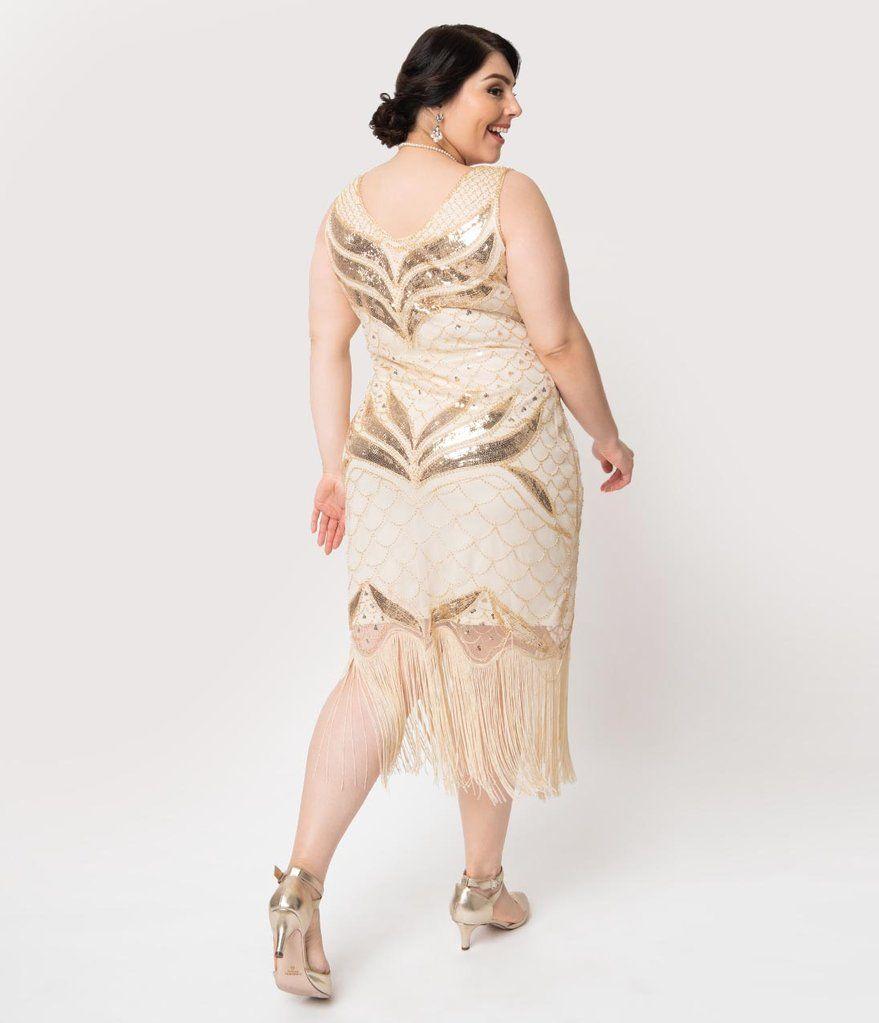 Plus size 1920s cream gold sequin victorine fringe