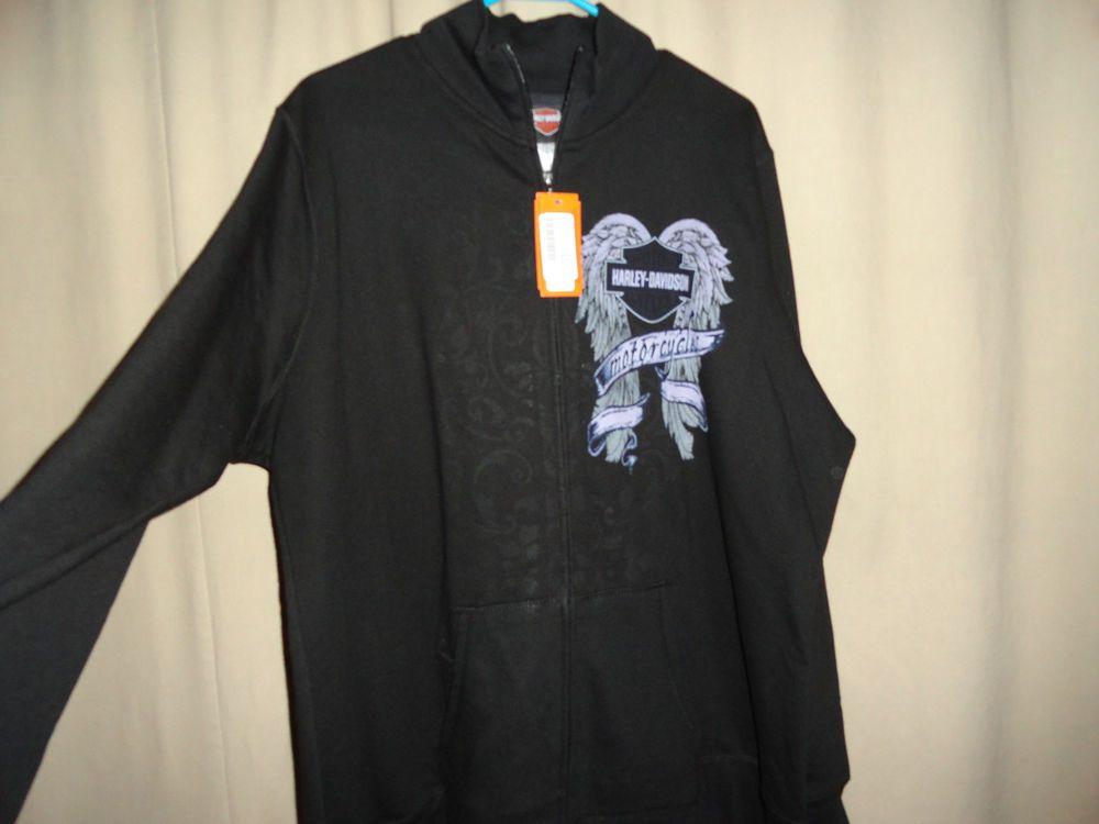 Womens Sz 2XL-2X-2W Harley Davidson Black-Purple Sweatshirt Jacket  #HarleyDavidson #Jacket