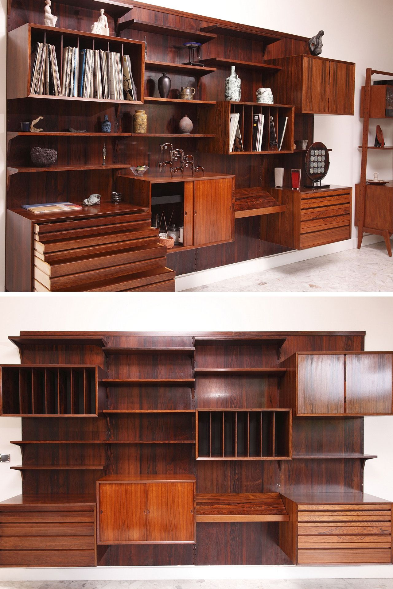 Danish Modern Poul Cadovius Wall Unit Crafted In Rosewood