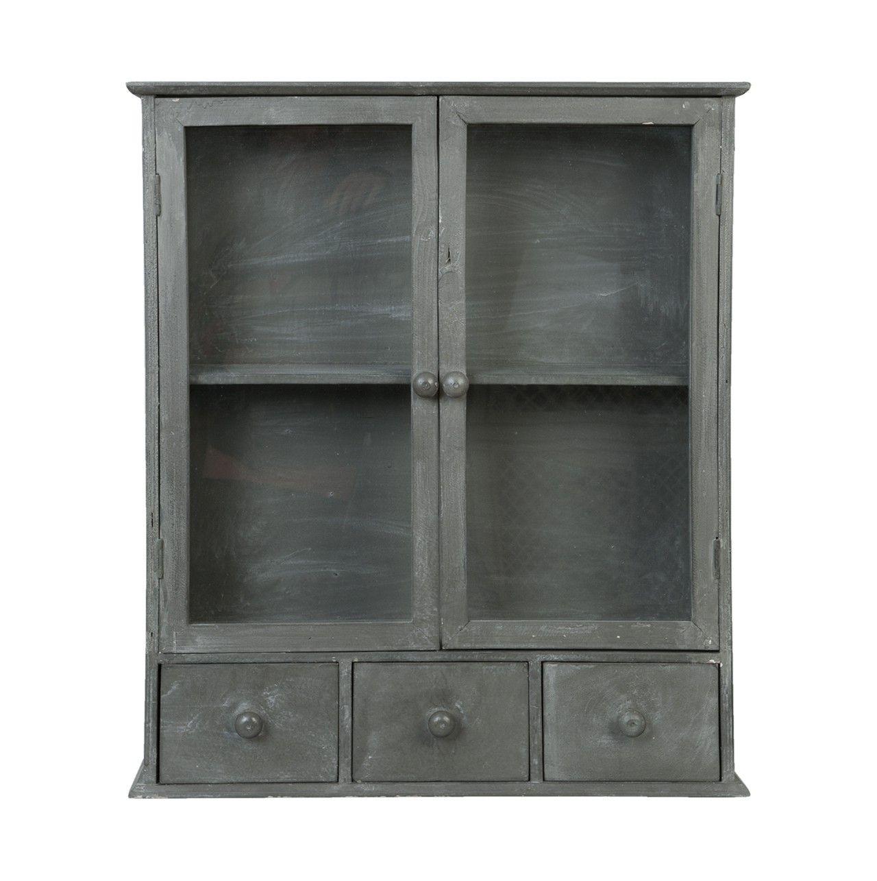 Mueble auxiliar con forma de #armario con puertas y cajones en #gris ...