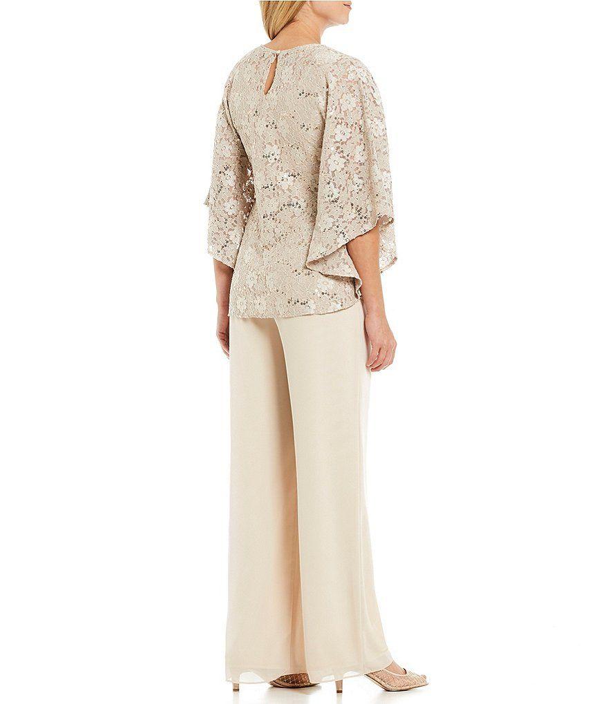 66569102604c Jessica Howard 3-Piece Glitter Lace Flutter Sleeve Capelet Pant Set |  Dillard's