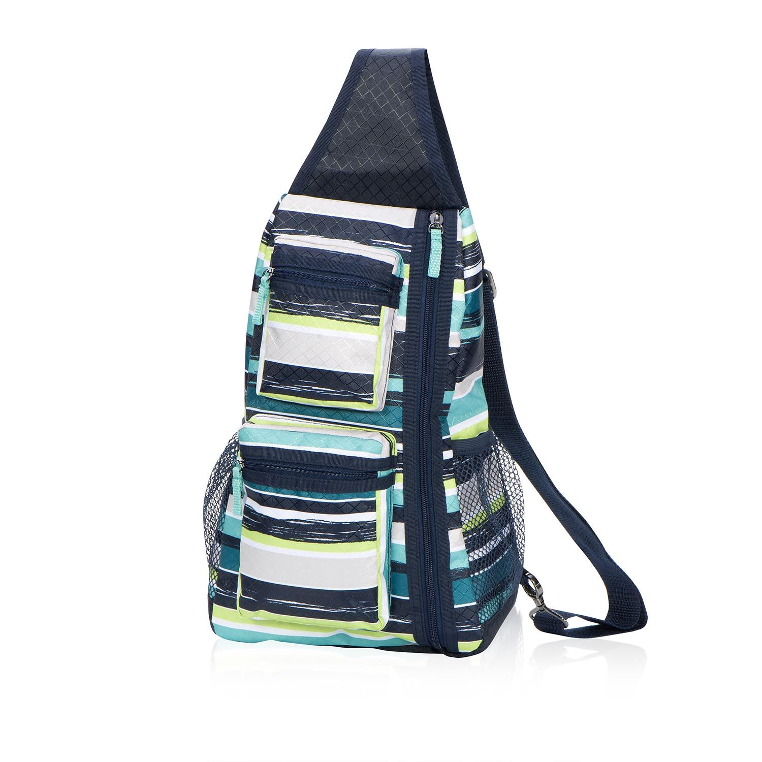Sling-Back Bag in Sea Stripe for $45 - So easy to grab and go ...