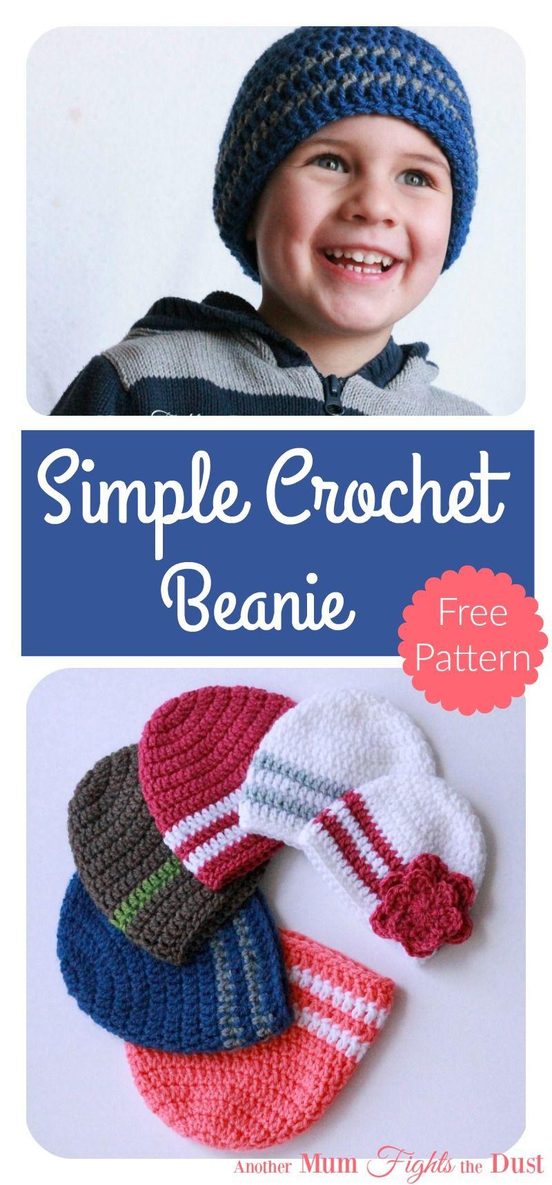 Simple Crochet Beanie Free Pattern | Häkeln baby, Häkeln und Hüte
