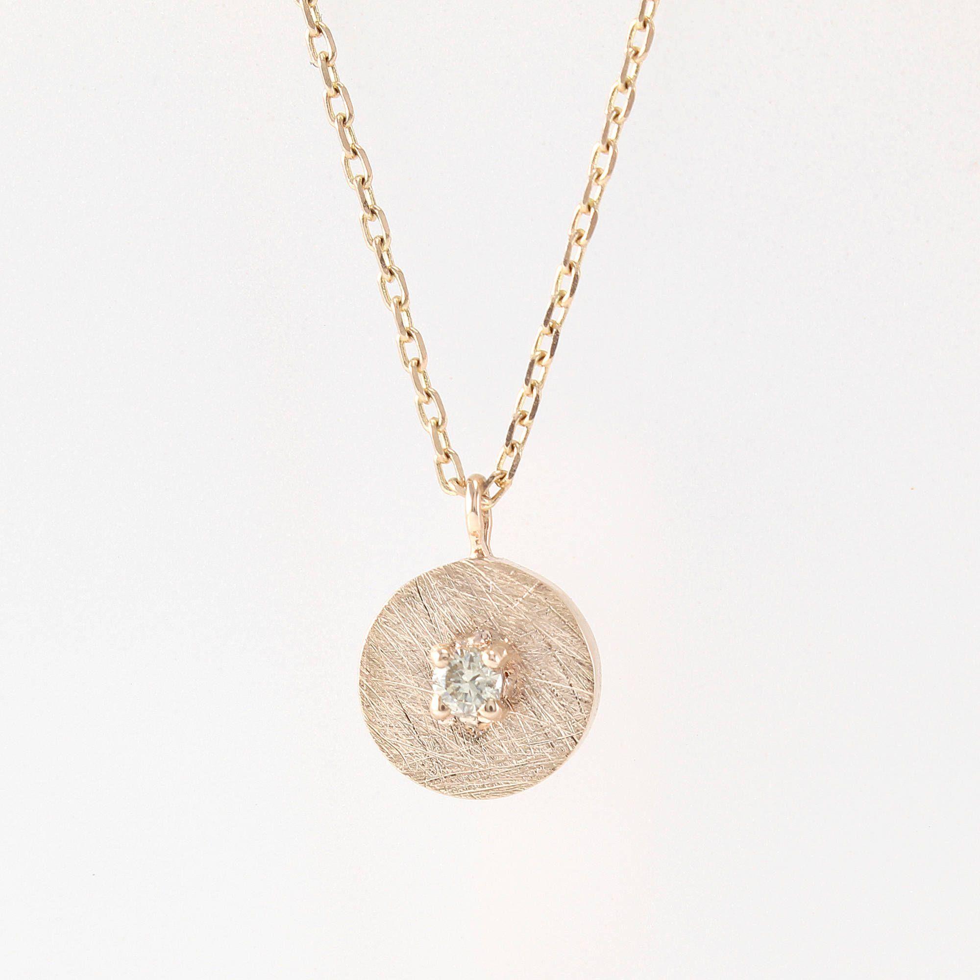 Gold circle necklace diamond coin necklace diamond gold