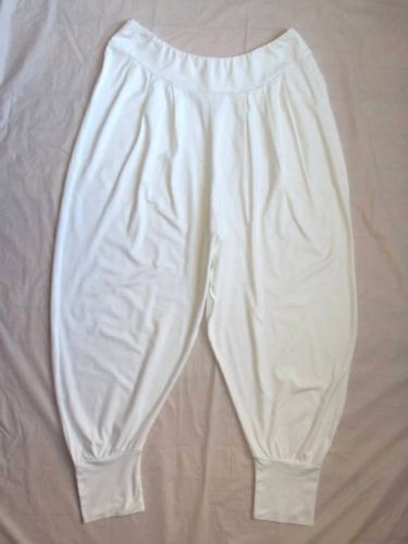 NORTHLAND WHITE LOOSE RELAXED FIT LAGENLOOK WHITE HAREM DANCE CROP CAPRI PANTS S