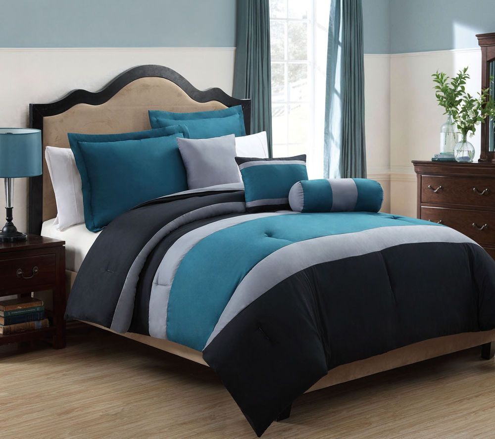 6 Piece King Tranquil Teal And Gray Comforter Set Blue And Grey