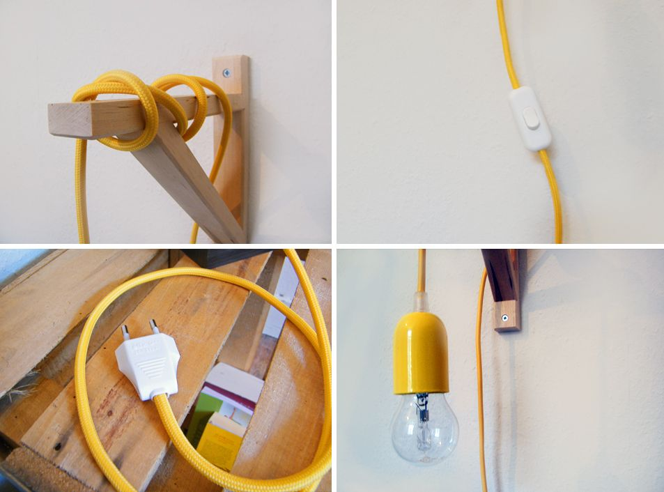 Yellow Cable Lamp DIY Ikea Console Hack Interior Design Bedside Lamp
