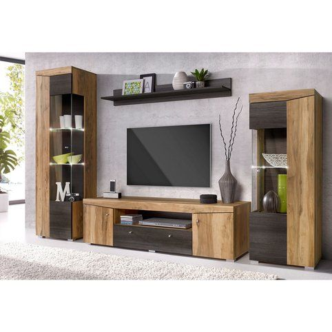 ensemble mural 2 vitrines meuble tv tag re murale d cor noyer marron fonc vue 1 tv. Black Bedroom Furniture Sets. Home Design Ideas