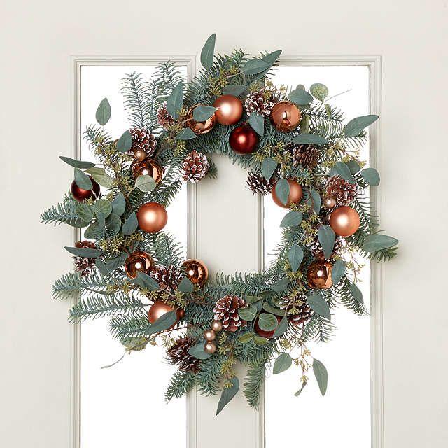 John Lewis Highland Myths Copper Bauble Wreath, Dia.56cm, Green #baublewreath