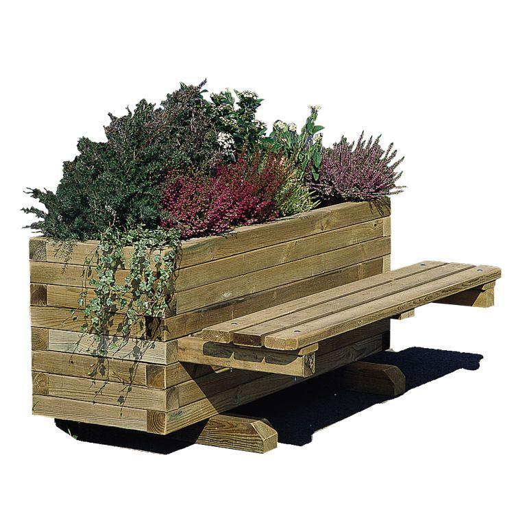Jardini re en bois avec banc public 250 litres doublet jardini re bacs a fleur pinterest - Jardiniere en bois ...