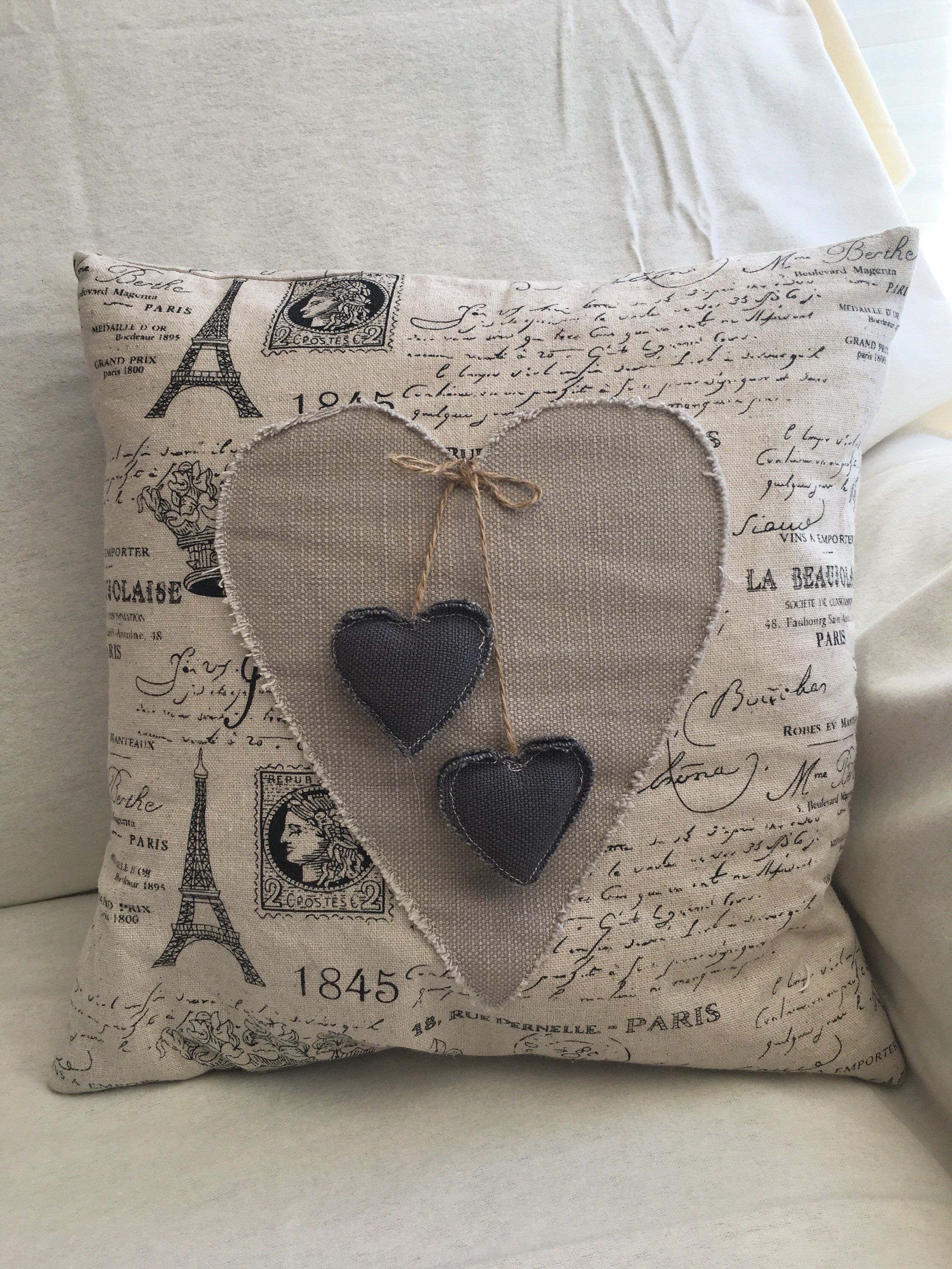"""French script appliqued heart cushion, shabby chic 12 x 12"""" cover only"""