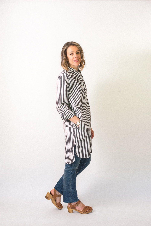 827cdfa12a9 Seasons and Salt Everlane Cotton Poplin Collarless Shirt Dress