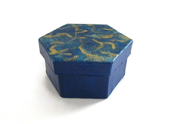 Hexagonal Gift Box For Men Hand Painted In Navy Blue And