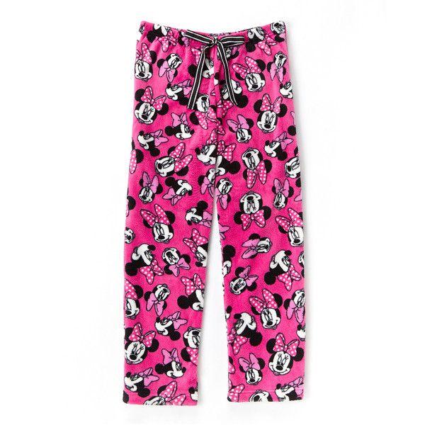 Mickey Mouse & Minnie Mouse Pink Minnie Mouse Fleece Pajama Pants ($14) ❤ liked on Polyvore featuring intimates, sleepwear, pajamas, fleece pyjamas, pink pajamas, pink pjs, pink sleepwear and fleece pajamas