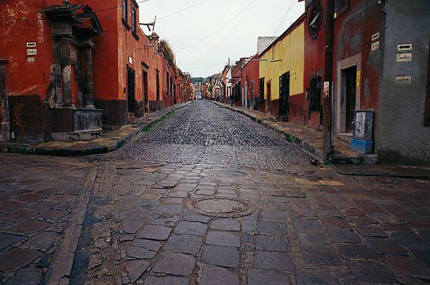 San Miguel De Allende, Guanajuato State, Mexico. View of cobblestone streets in San Miguel de Allende.