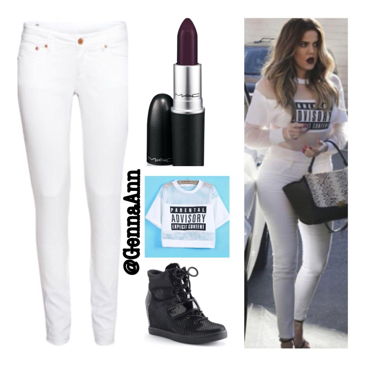#kardashian #getthelook #dressforless H&M white skinny jeans $20 - mac deep win lipstick $14 - parent advisory crop top #ebay or #asos -kohls wedge sneakers!!!