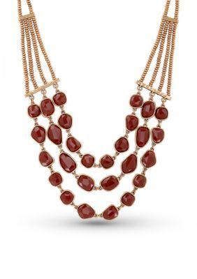 Lucky Brand Jewelry  Gold-Tone Carnelian Collar Necklace