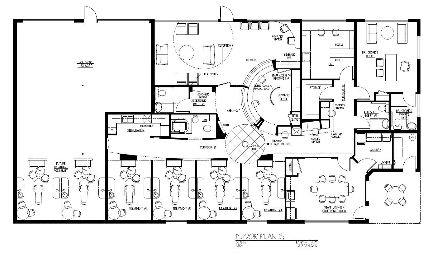 Family and general dentistry floor plans re purposed service station cosmetic dentistry 3200 sq ft