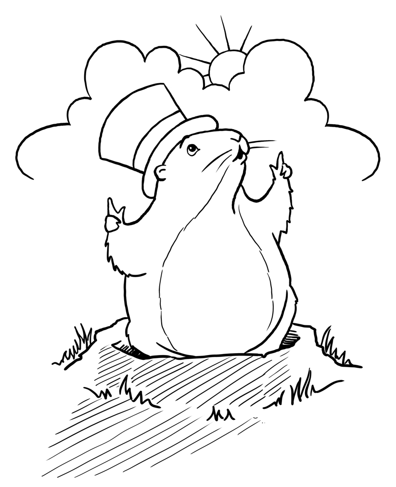 groundhog day coloring sheet - Groundhog Coloring Pages