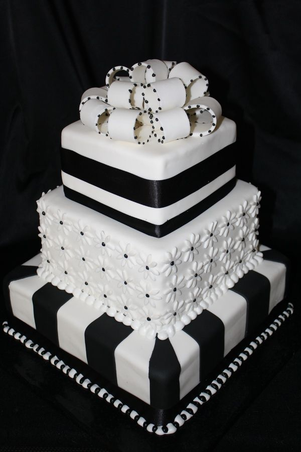 Black and white cake Cakes Pinterest White cakes Cake and Black