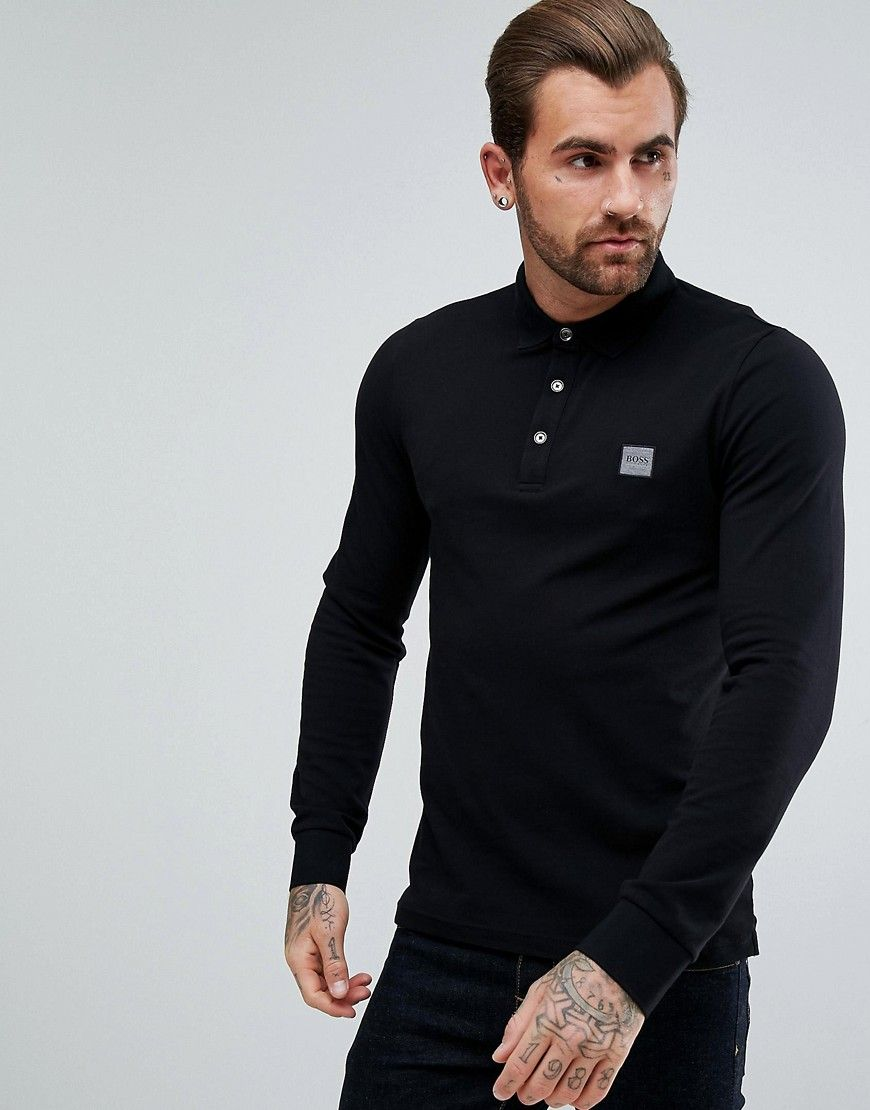a0c7c3ebf BOSS Orange by Hugo Boss Paulyn Slim Fit Long Sleeve Polo Shirt in Bla