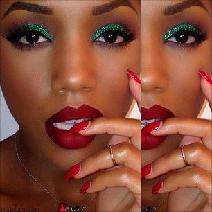 Show your Christmas spirit with incredible red and green makeup.