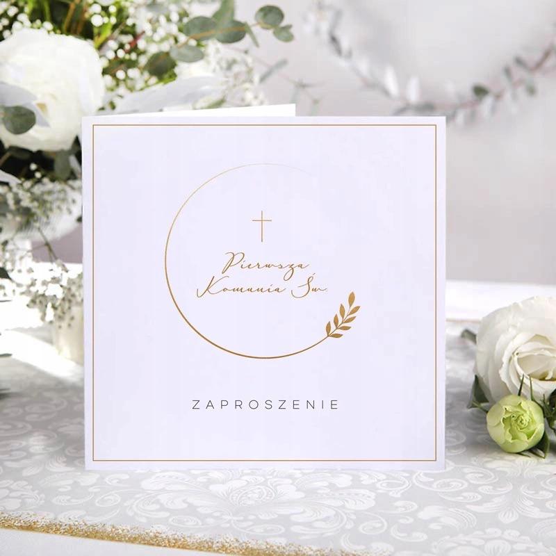 Zaproszenia Komunijne Zloty Wianuszek 10szt Free Calligraphy Fonts Cards Stationery Paper