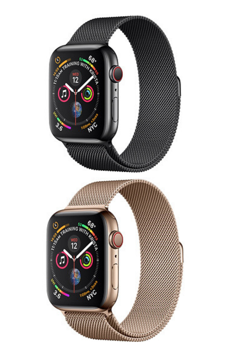 b4640615d61 Apple Watch 4 Series 1) Space Black Stainless Steel Case with Space Black  Milanese Loop 2) Gold Stainless Steel Case with Gold Milanese Loop