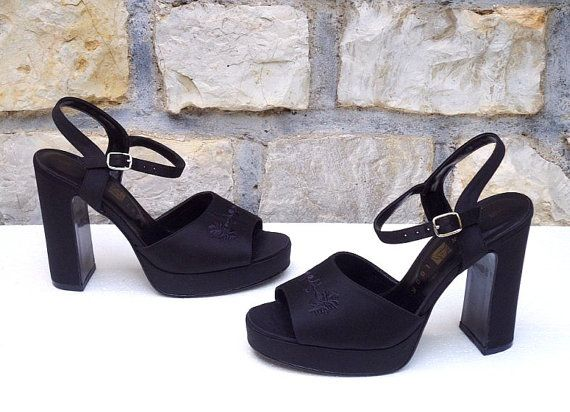 90s 70s CLUELESS Black Satin Floral Embroidered Ankle Strap Platform  Sandals w Sky High Chunky Heel # Mint Co. > Women's Eu 38 Uk 5 Us 7 7.5
