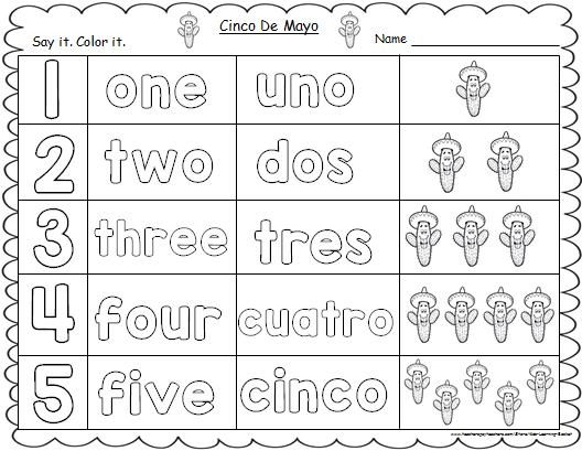 Pin By Kids Learning Basket On Cinco De Mayo Themed Worksheets Number Words Worksheets Number Words Kindergarten Math Worksheets
