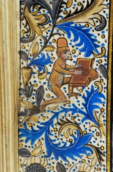 Monkey in hat, playing psaltery | Book of Hours | Belgium, Bruges | ca. 1470 | The Morgan Library & Musuem