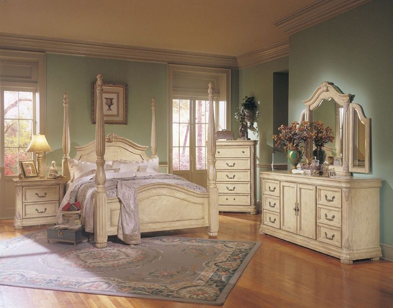 Antique White Bedroom Furniture Cherry Wood Quality