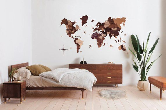 Photo of Wooden World Map Flags Pins Rustic Wall Decor House Decor Bedroom Home Art Farmhouse Housewarming New Home Gift Wedding Gift for Couple