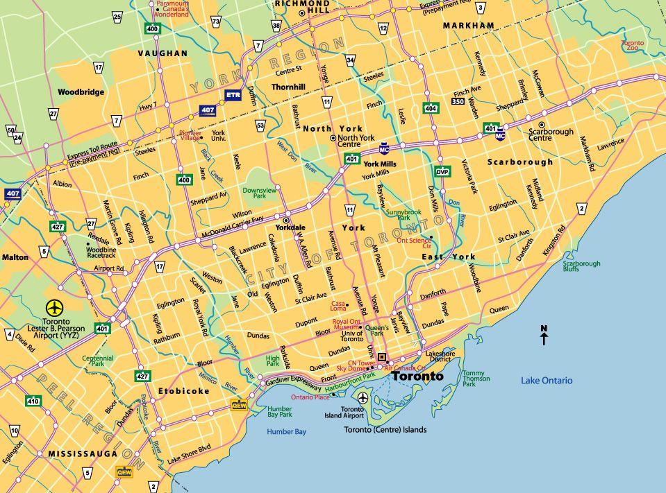 Map Of Toronto City Canada Toronto City Map   Toronto ON Canada • mappery | Toronto canada