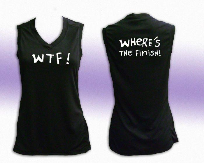 efebc6d6 W.T.F. Where's The Finish Women's V Neck Tech. Tank | Workout Gear I ...