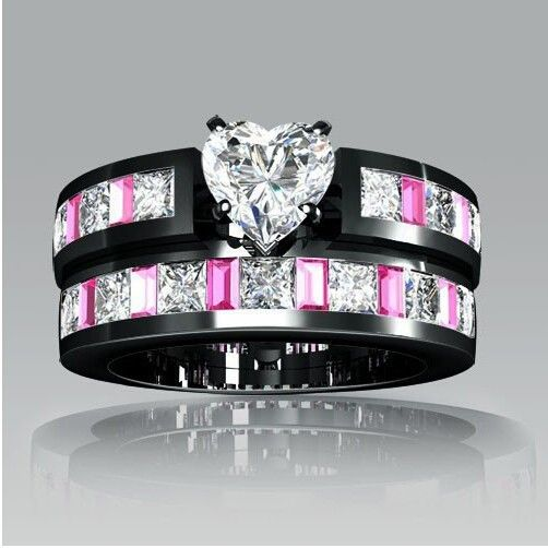 vancaro black wedding ring set - Black And Pink Wedding Ring Sets